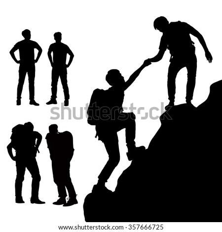 Teamwork concept - Silhouette of Success men mountain climber with white background - stock vector