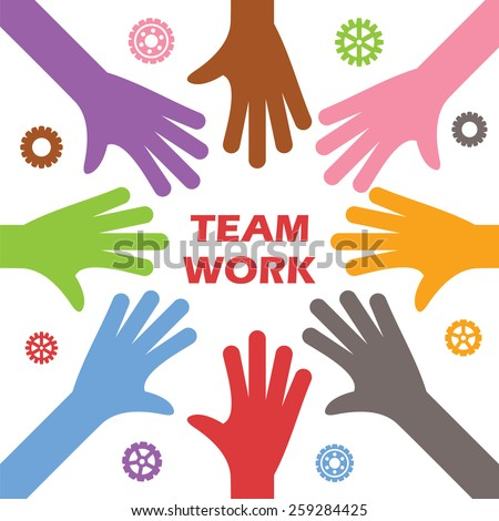teamwork concept, vector of colorful hands - stock vector