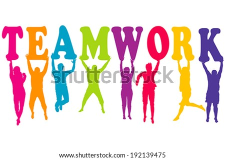 Teamwork concept with colored women and men silhouettes jumping - stock vector
