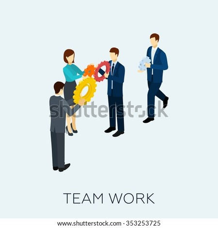 Teamwork concept with isometric business people and cogwheel mechanism vector illustration - stock vector