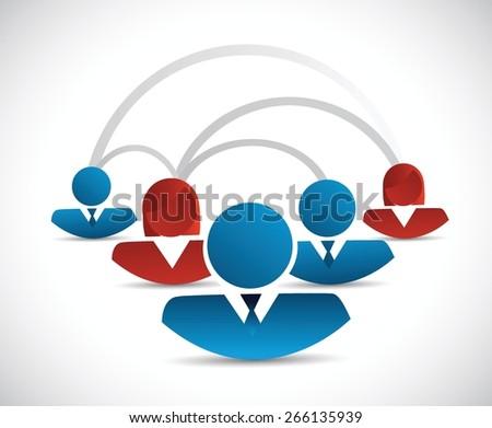 teamwork connection diagram network illustration design over white - stock vector