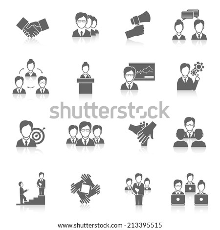 Teamwork corporate organization business strategy black icons set isolated vector illustration