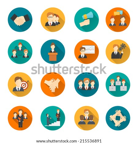 Teamwork corporate organization business strategy flat round button icons set isolated vector illustration - stock vector