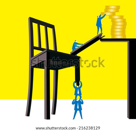 Teamwork : Create a variety of possible for money. - stock vector