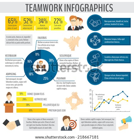 Teamwork effective management and cooperation infographic elements with business charts vector illustration - stock vector