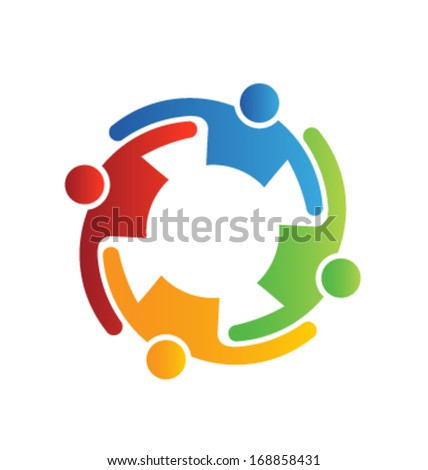 Teamwork Embrace 4 - stock vector