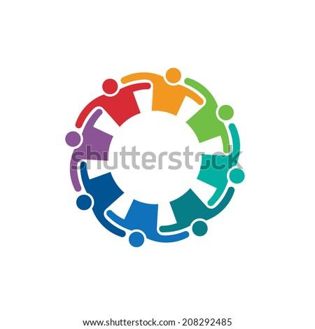 Teamwork Embrace 8 image. Vector icon - stock vector