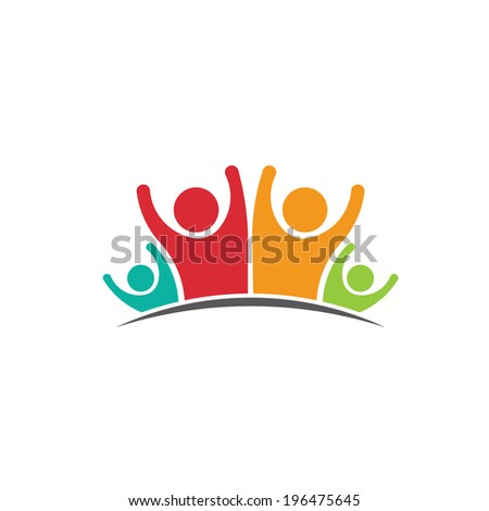 Teamwork Family of Four members image. Concept of parentage, happiness, dynasty - stock vector