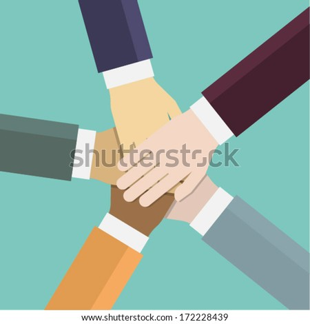Teamwork. Flat vector illustration.  - stock vector