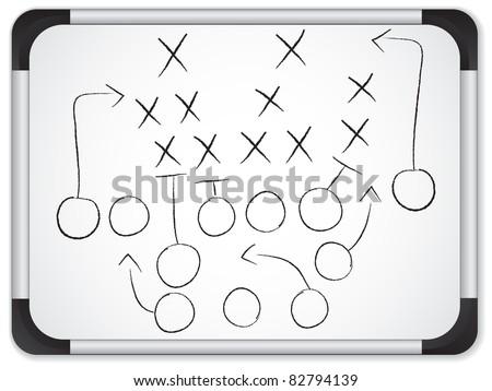 Teamwork Football Game Plan Strategy on Whiteboard - stock vector