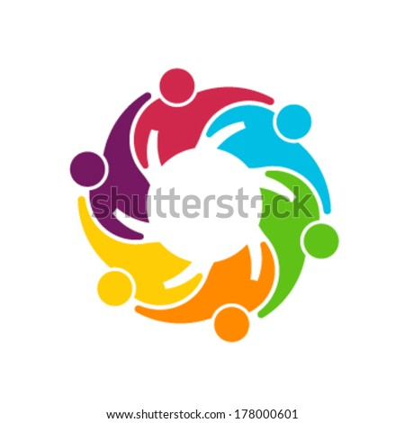 Teamwork Gear. Vector logo Group of 6 people relationship and collaboration - stock vector