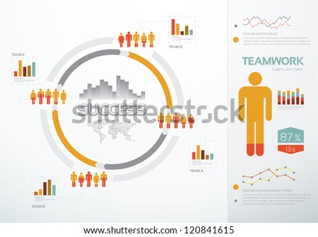 Teamwork graphs and charts for business success - stock vector