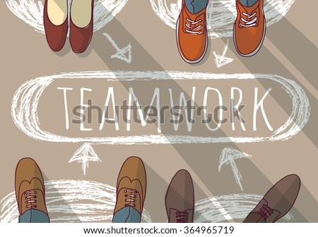 Teamwork group business people and doodles. Color vector illustration. EPS8 - stock vector