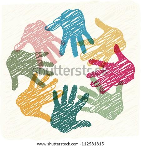 Teamwork hands - stock vector