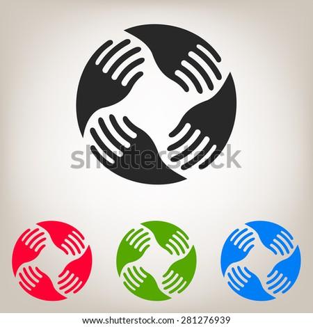 Teamwork Hands Logo. Human connection - stock vector