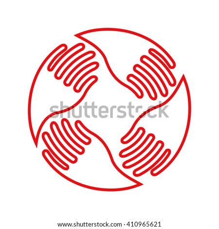 Teamwork Hands Logo. Human connection. Line icon,