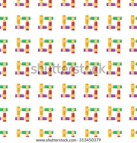 teamwork hands vector icon seamless pattern, tiling ornament on white.