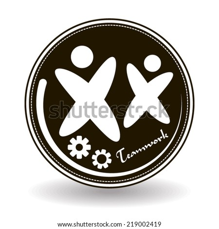 Teamwork icon on black and white design with two silhouettes of person and gears stamp - stock vector