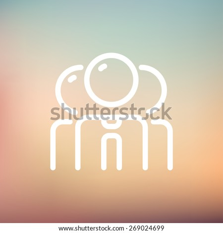 Teamwork icon thin line for web and mobile, modern minimalistic falt design. Vector white icon on gradient mesh background. - stock vector