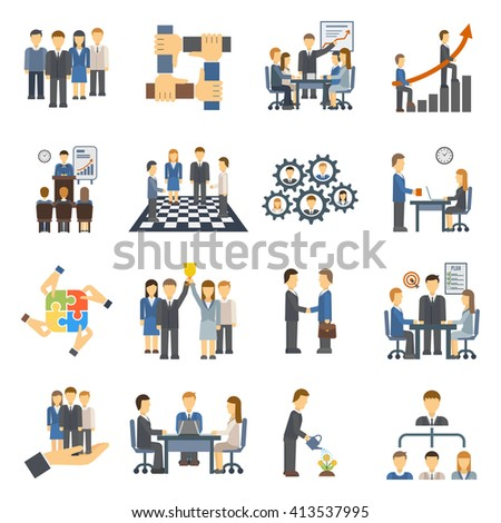 Teamwork icons set group symbol communication social design person meeting vector illustration. Teamwork icons partnership success and organization community teamwork icons. Teamwork leadership. - stock vector