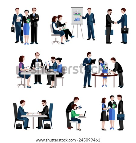 Teamwork icons set with men and women teams conference brainstorming isolated vector illustration - stock vector