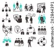 Teamwork icons set with sketch business people discussion organization and partnership scenes isolated vector illustration - stock