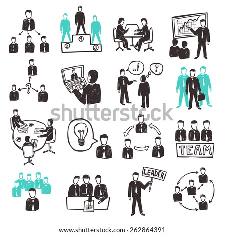 Teamwork icons set with sketch business people discussion organization and partnership scenes isolated vector illustration - stock vector