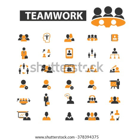 teamwork icons, teamwork logo, team icons vector, team flat illustration concept, team infographics elements isolated on white background - stock vector