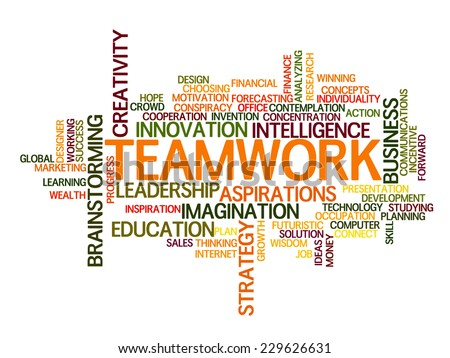 Teamwork idea Word Cloud Concept - stock vector