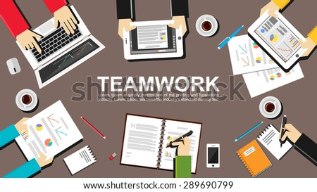 Teamwork illustration. Teamwork concept. Flat design illustration concepts for teamwork, team, meeting, business, finance, management, career, analytics, analysis, brainstorming, planning.   - stock vector