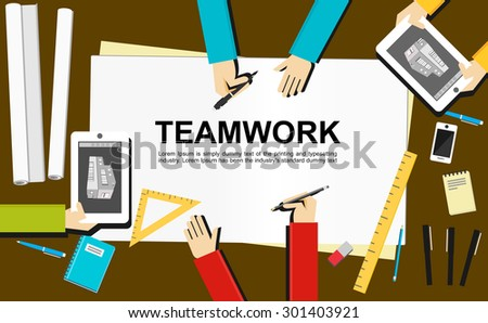 Teamwork illustration. Teamwork concept. Flat design illustration concepts for teamwork, team, meeting, drawing, architecture, business, analytics, analysis, brainstorming, planning.   - stock vector