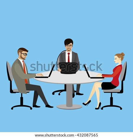 Teamwork in office.Business concept,vector illustration