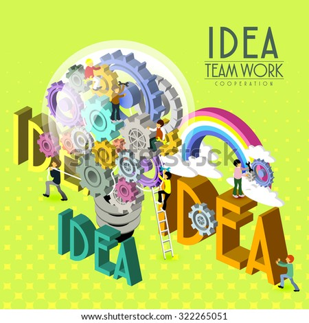 teamwork inspiration concept in 3d isometric flat design  - stock vector