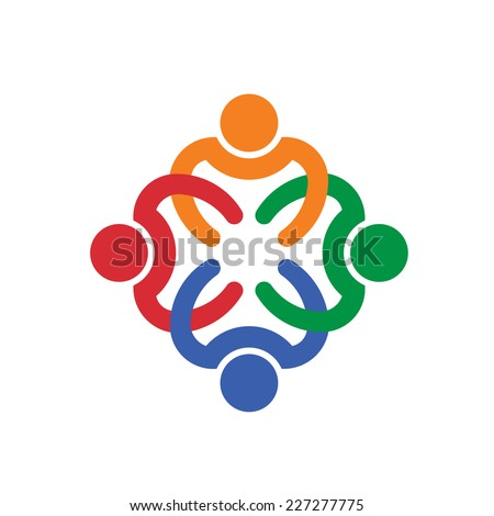 Teamwork interlaced group of four people. Vector design icon - stock vector