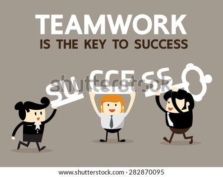 Teamwork is the key to success, Business Team work concept, Vector illustrator - stock vector