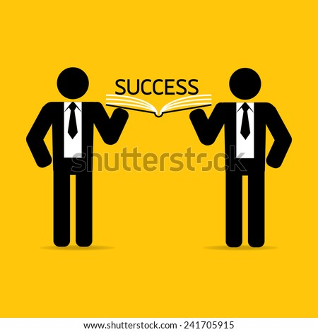 teamwork leadership carry success book on yellow background vector : business concept - stock vector