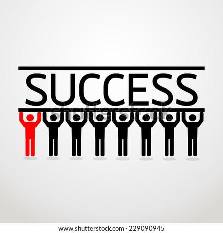 teamwork leadership on gray background vector : business concept - stock vector
