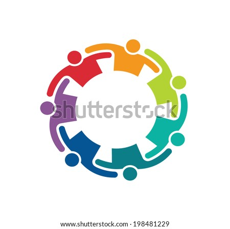 Teamwork logo Embrace 7 Group of People.Concept of commitment,teaming up, united, relationship and collaboration. Vector icon - stock vector