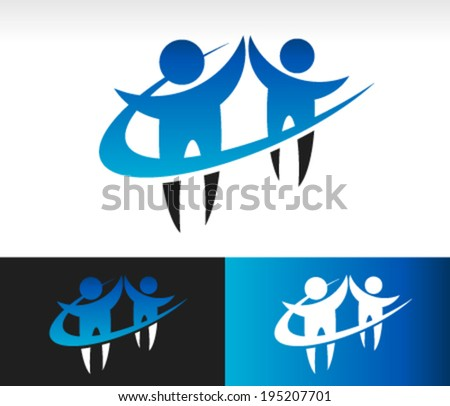 Teamwork logo icon with swoosh graphic element - stock vector