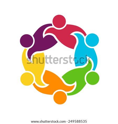 Teamwork logo round circle of 6 people group , helping each other - stock vector