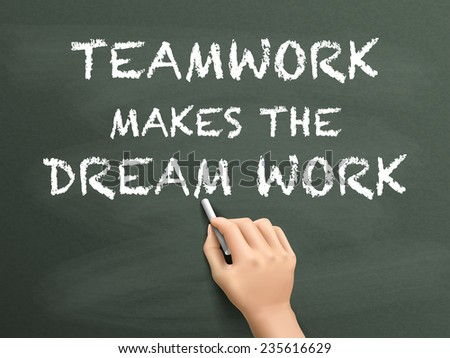 teamwork makes the dream work written by hand isolated on blackboard