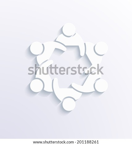 Teamwork Meeting 3. Group of People. 3D white vector - stock vector