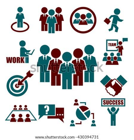 teamwork, meeting, seminar icon set - stock vector