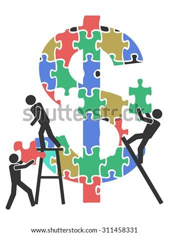 teamwork money sign Jigsaw puzzle  - stock vector