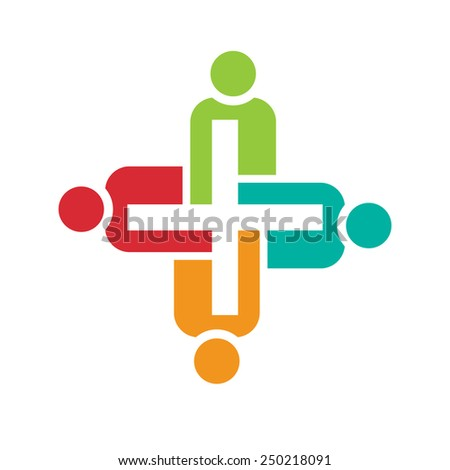 Teamwork of positive people. Concept of group of people collaboration and great work. - stock vector