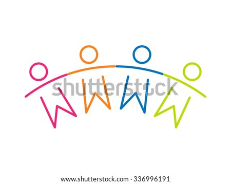 Teamwork People Children Friendship Together Vector Icon  - stock vector
