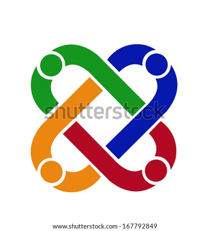 Teamwork people connection vector icon - stock vector