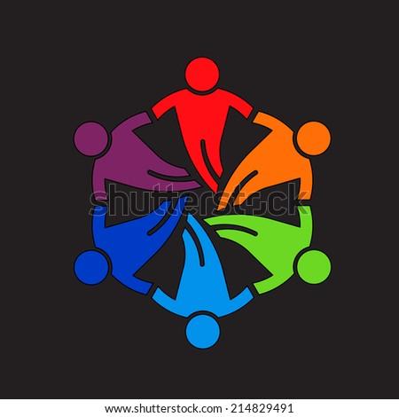 Teamwork people Friends 6 Design Icon Vector - stock vector
