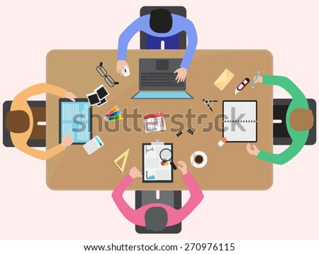teamwork project on business meeting - stock vector