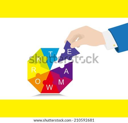 Teamwork:Put together - stock vector